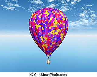 Hot Air Balloon - Computer generated 3D illustration with a...