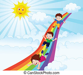 Kids cartoon Sliding Down a Rainbow - Vector illustration of...