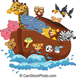 Noah's Ark cartoon - Vector illustration of Noah's Ark...