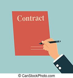 Businessman's hand with pen and contract signature.