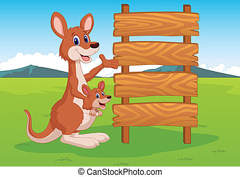 Cartoon Kangaroo and wooden sign - Vector illustration of...