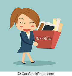 Businesswoman moving into a new office or changing jobs...