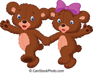 Happy bear cartoon couple - Vector illustration of Happy...