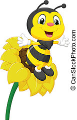 Bee cartoon character on the flower - Vector illustration of...