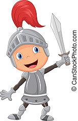 Cartoon knight boy - Vector illustration of Cartoon knight...