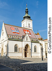 St. Mark's Church in Zagreb,Croatia - Panoramic view of...