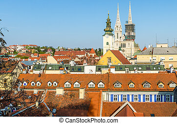 Aerial view of Zagreb rooftops: Dolac market and the Church...