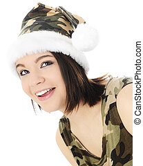 Ms. Camo-Clause Looking UP - A beautiful teen girl happily...