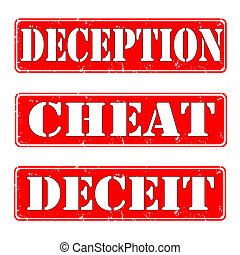 deception,cheat,deceit - Set of rubber stamps with cheat...