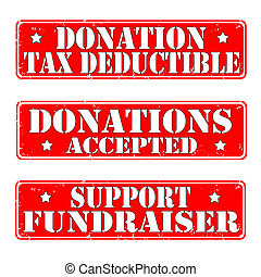donation stamps - grunge rubber stamps donation text,vector...