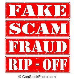 fake,scam - set of rubber stamps fake,fraud,scam