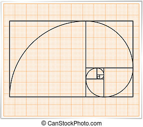 Golden Ratio - Graph paper with golden ratio, vector eps10...