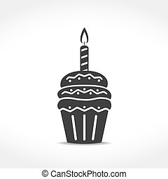 Birthday Cupcake Icon - Birthday cupcake icon, vector eps10...