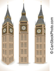 Big Ben Tower Isolated on White - Detailed Illustration of a...