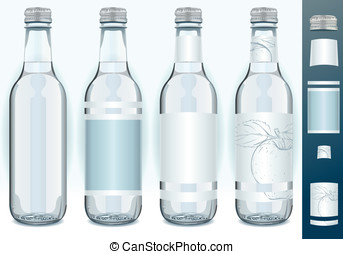 Four Glass Bottles with Generic Labels - Detailed...
