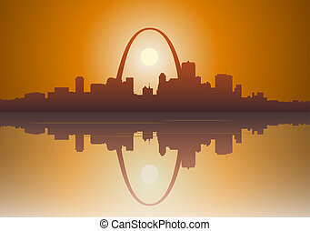 St Louis City Sunset - Illustration of a foggy St Louis,...