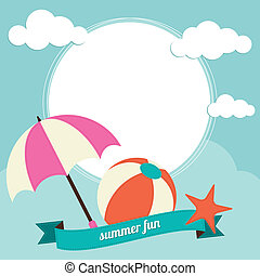 Beach ball and sun umbrella activit