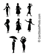 women in rain related silhouettes