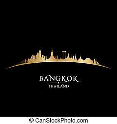 Bangkok Thailand city skyline silhouette black background -...