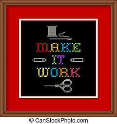 Embroidery, Make It Work Frame - Cherry wood picture frame...