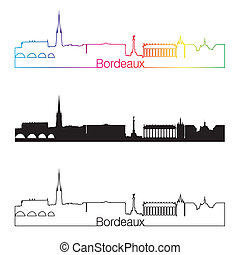Bordeaux skyline linear style with rainbow in editable...