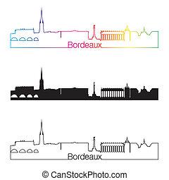 Bordeaux skyline linear style with rainbow in editable...