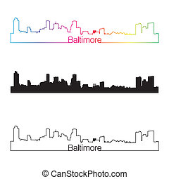 Baltimore skyline linear style with rainbow in editable...