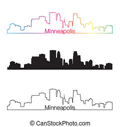 Minneapolis skyline linear style with rainbow in editable...