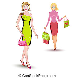 Girls shopping - girls shopping on a white background