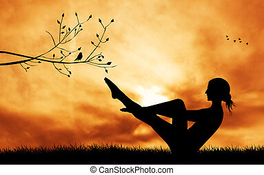 yoga pose - illustration of yoga pose