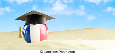 France language on holiday, graduation cap at the beach 3d...