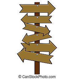 Multiple signs - Cartoon illustration showing a post with...