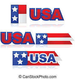USA badges - Glossy illustration set with different United...