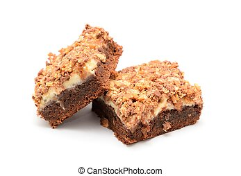 Brownies cake with cottage cheese powdered by pieces of...