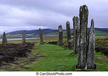 standing stones on orkneys - ring of brodgar - stock photo