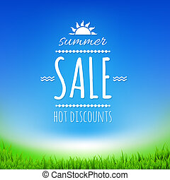 Summer Sale Banner With Sun, With Gradient Mesh, Vector...