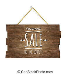 Summer Sale Wooden Board, With Gradient Mesh, Vector...