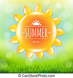 Summer Time Poster With Grass, With Gradient Mesh, Vector...