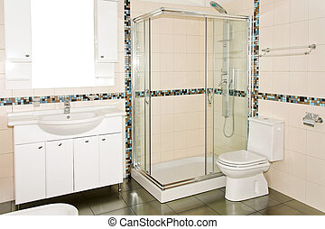 New bathroom - Interior of new bathroom with glass shower