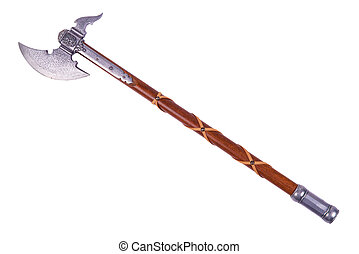 Battle axe displayed by diagonal, isolated on white...