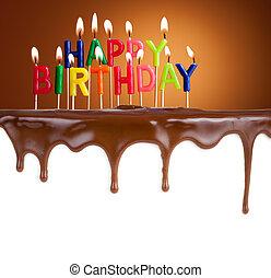 heureux, anniversaire, lit, bougies, chocolat, gâteau,...