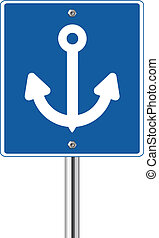 Anchor sign on blue traffic