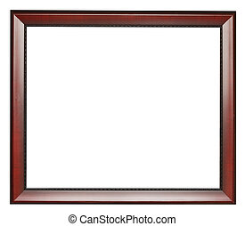 wide dark brown flat wooden picture frame with cut out...