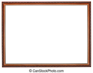 narrow carved retro brown wooden picture frame with cut out...
