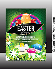 Easter Day Flyer Design Vector