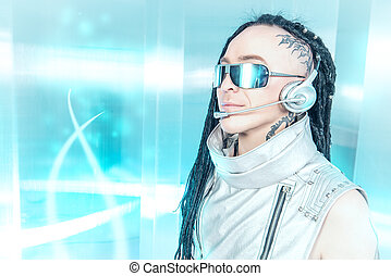 future support - Eccentric futuristic man in silver costume...
