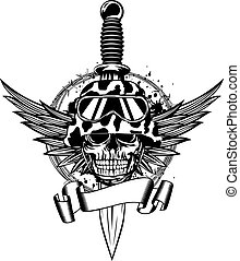 Skull in helmet, wings and dagger - Vector illustration...