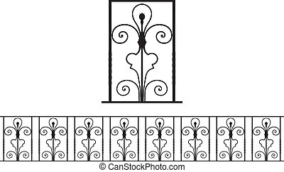 Detail of ironwork - Vector illustration of an architectural...