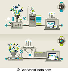 Flat design concept for web and seo - Set of flat design...