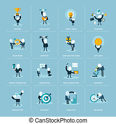 Flat design icons for business - Set of flat design icons...